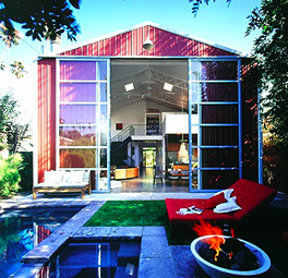 Red barn prefab brings metal barns to the city prefabcosm for Pre built barn homes